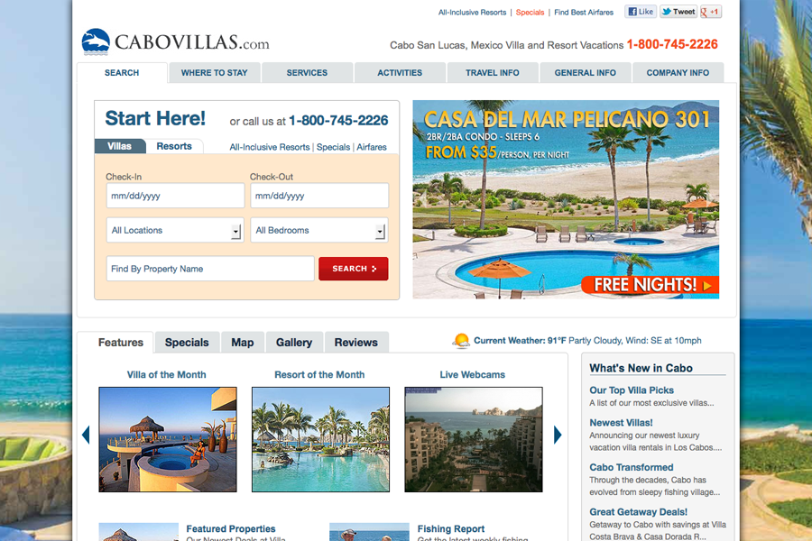 Cabo San Lucas Vacation Villas, Resorts & Hotels Portfolio Graphic 1
