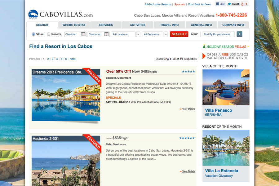 Cabo San Lucas Vacation Villas, Resorts & Hotels Portfolio Graphic 3