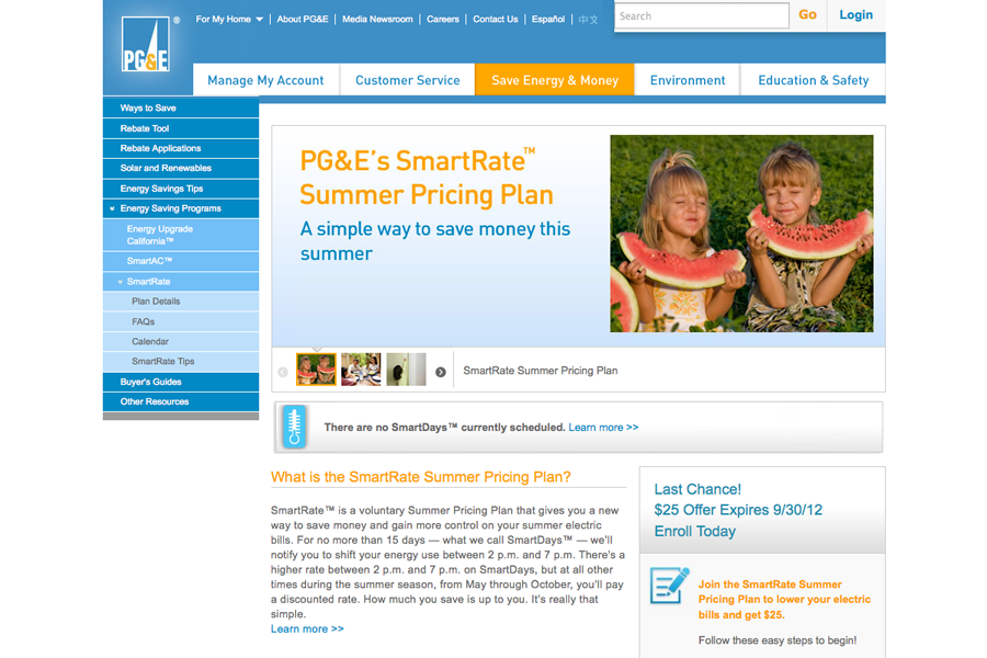 PG&E Smart Rate Portfolio Graphic 1